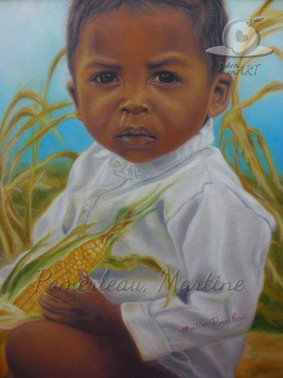 Portrait garçon africain avec fond champ de blé dinde séché.