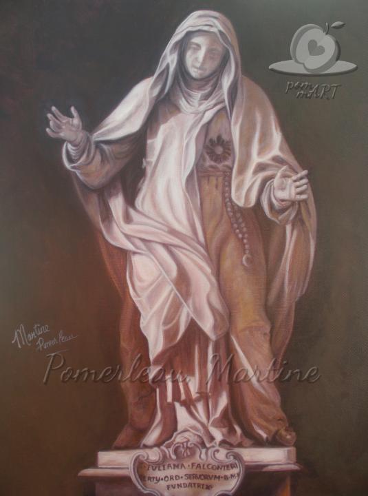 Oeuvre peinture à l'huile de la statut Sainte-Julienne de Falconieri par PommArt