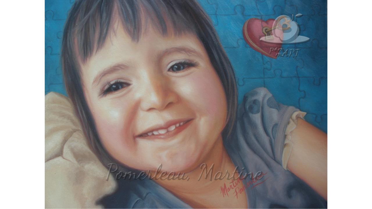 peinture portrait enfant un sourire la clé qui ouvre bien des coeurs par PommArt