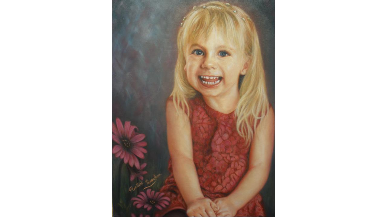 Peinture à l'huile portrait enfant Amélie par PommArt