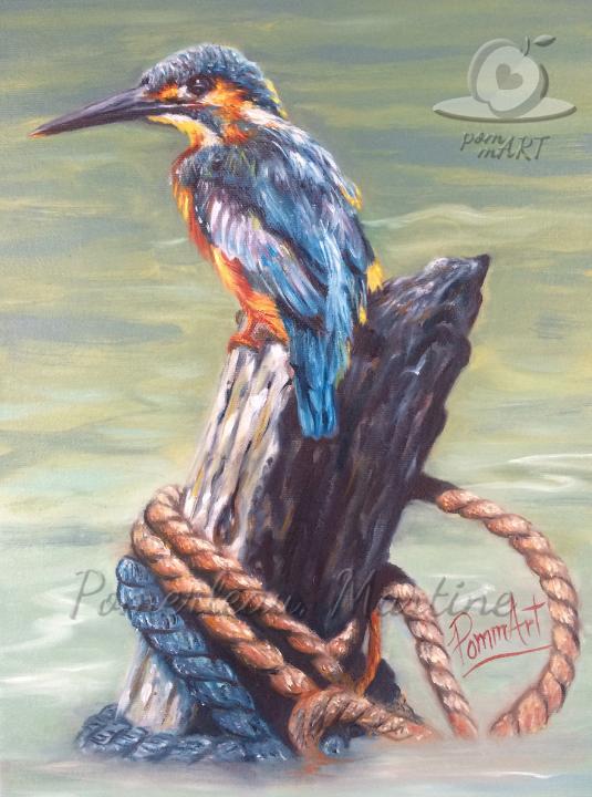 Oeuvre peinture à l'huile oiseau le pêcheur par PommArt