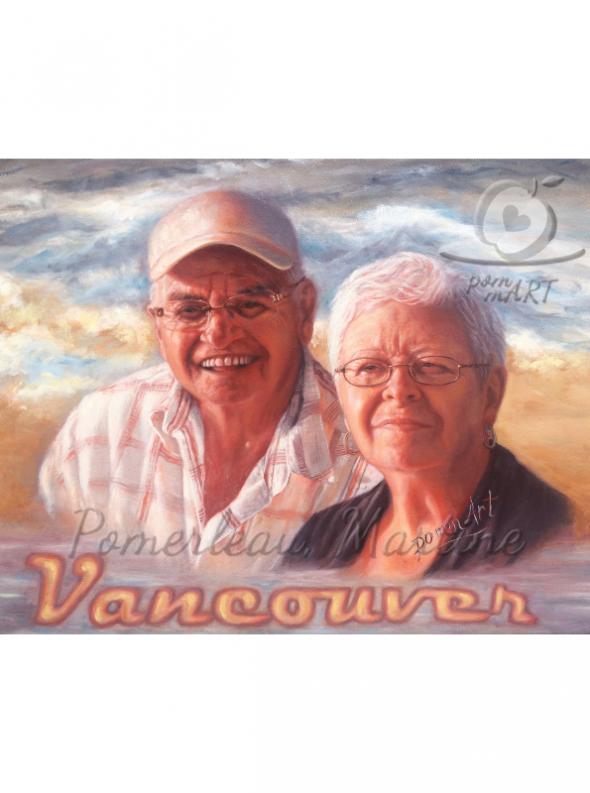 oeuvre peinture portrait couple parents de l'artiste pommart Escapade à Vancouver par PommArt