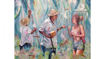Oeuvre peinture à l'huile d'un cueilleur de coco par PommArt