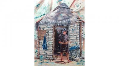 Oeuvre peinture à l'huile Le plongeur par PommArt
