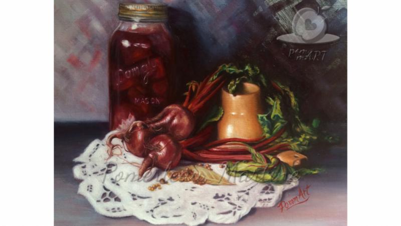 oeuvre peinture à l'huile betteraves Art à conserver par PommArt