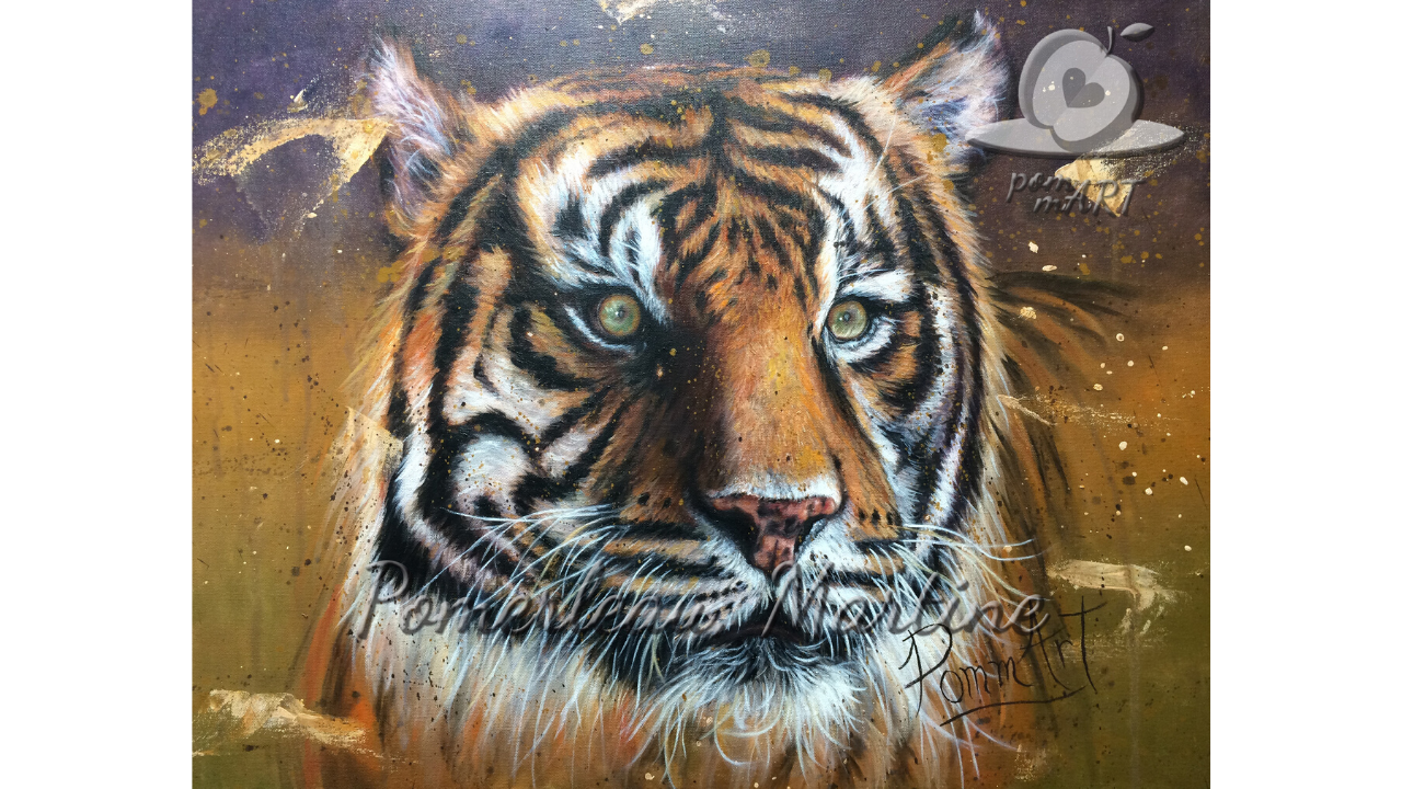 Oeuvre peinture à l'huile d'un tigre du Bengale par PommArt