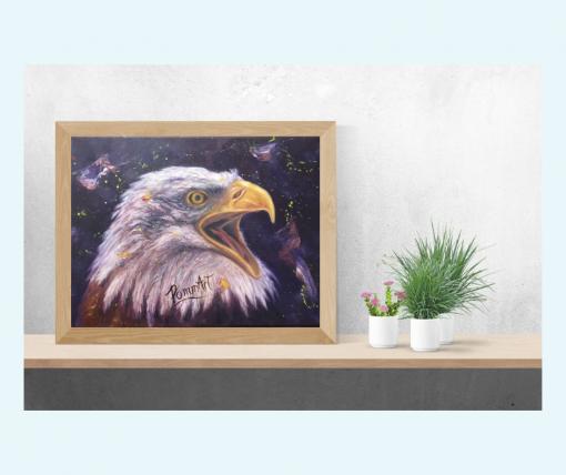 Oeuvre peinture à l'huile d'un aigle sur une tablette dans votre décor