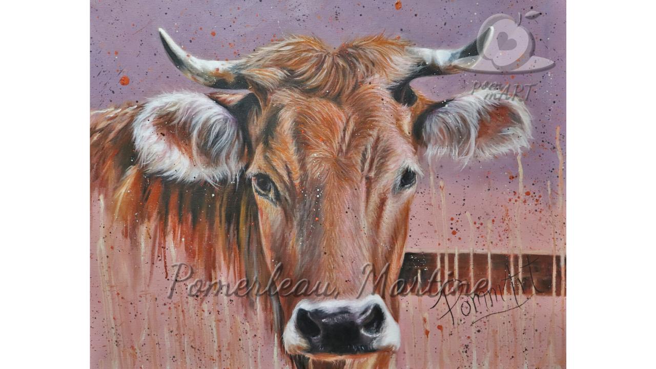 Oeuvre peinture à l'huile vache intitulée Vachement tendre par PommArt