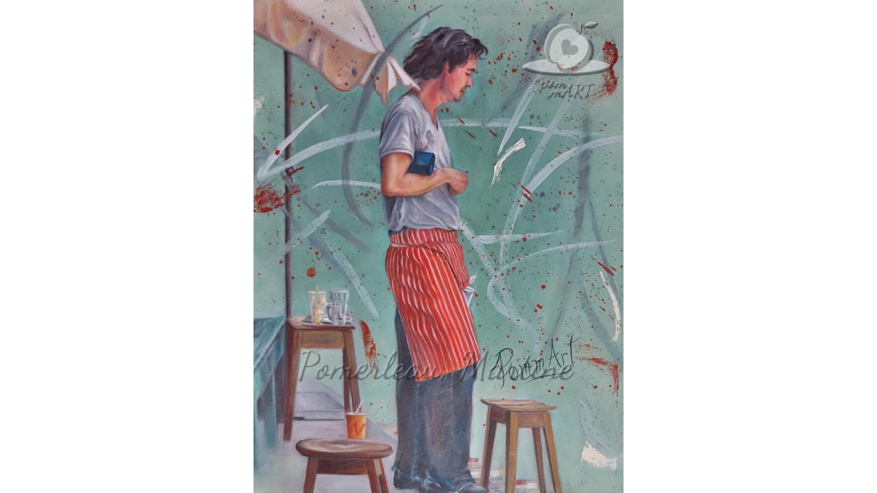 Oeuvre peinture à l'huile Le serveur par PommArt