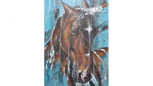 Oeuvre peinture d'un cheval prenant une douche par PommArt