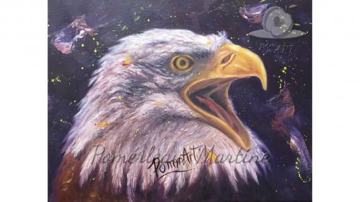 Oeuvre peinture à l'huile d'un aigle par PommArt